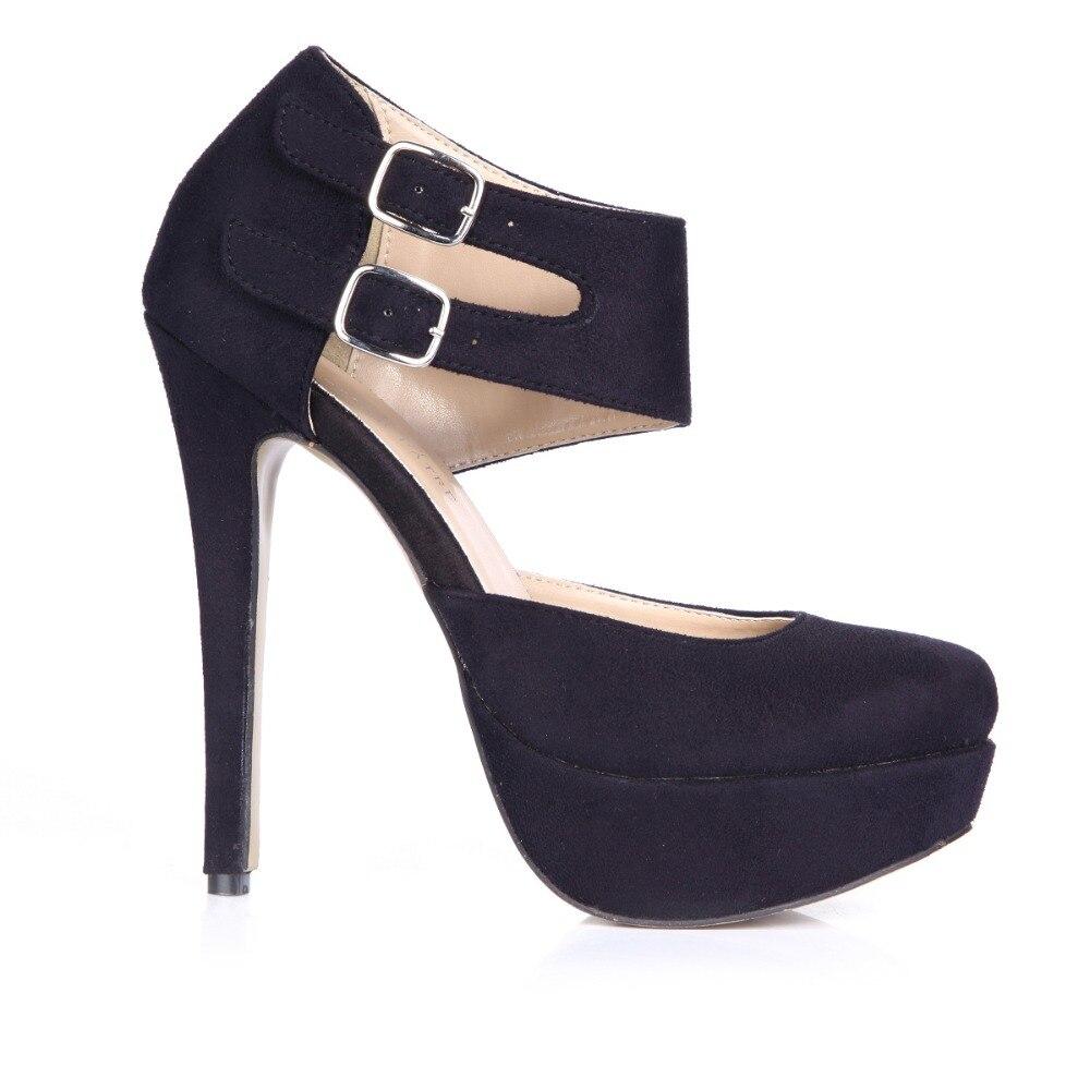 0e2be9f256c6c Yeni 2016 sıcak satış moda yaz pompaları seksi yuvarlak ayak kadınlar süper  yüksek topuklar siyah platformu ayakkabı kadın cut-çıkışları toka sandalet