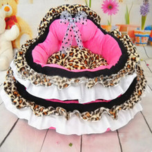 Autumn Winter Cute Pets Princess Bed Leopard Softs Dogs Cats Kennel
