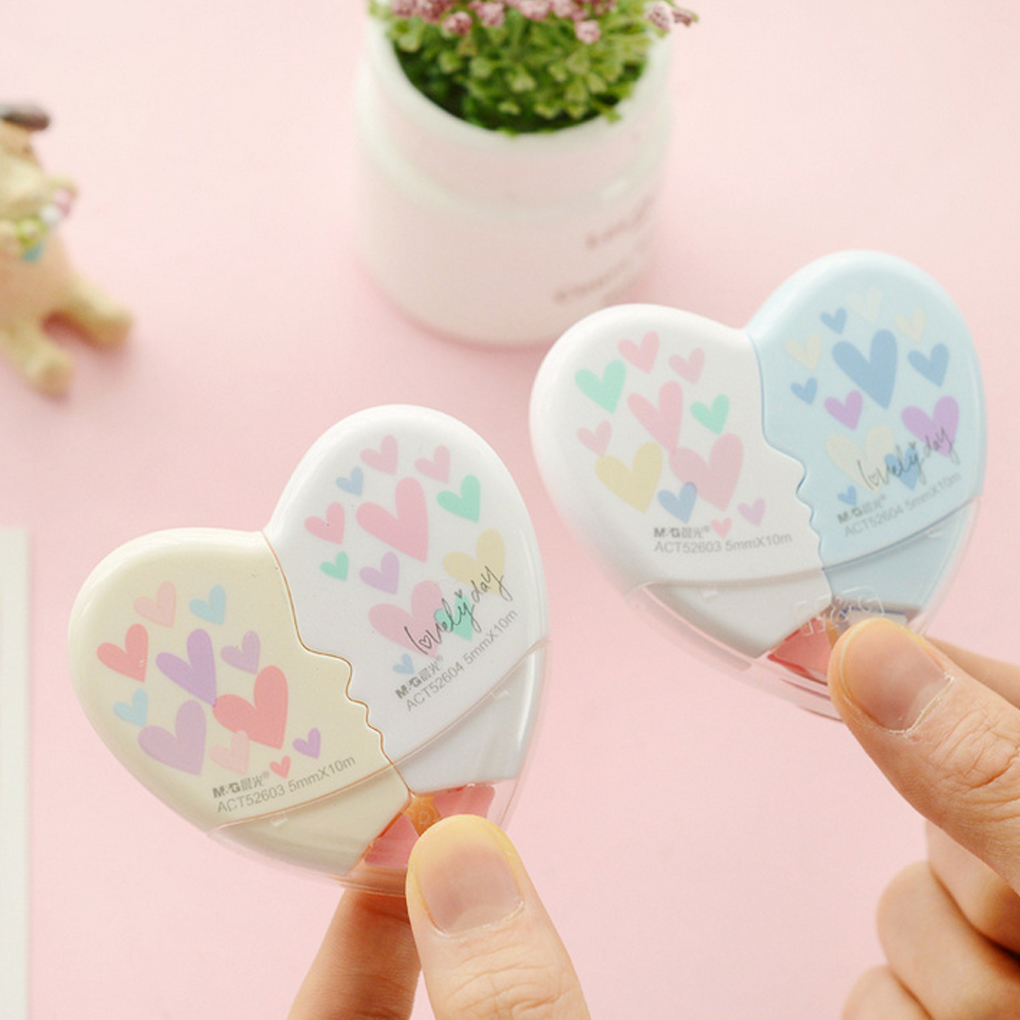 1 Pair 10m Heart Shape Correction Tape Portable Cute Student School Stationery Office Supplies Tool Correction Belt