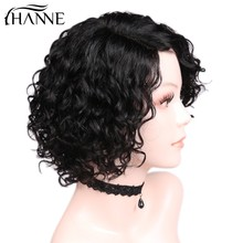 HANNE Hair Short Curly Bob Wig 1b#/30#/99j Color Brazilian Human Hair L Part Human Hair Wigs Wave Remy Wig For Black/White Women(China)