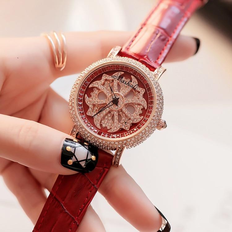 Top Quality Luxury Lady Crystal Watch Women Dress Watch.Genuine Leather Rotation Watches Female Wristwatches relogio feminino цена