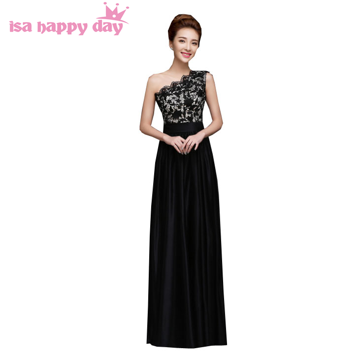 Black Lace Wedding Dress Plus Size Naf Dresses: Grecian Style One Shoulder Lace Chiffon Long Black Womens