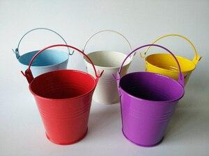 Image 2 - Taza de Metal de colores, jardineras, cubos de boda, Mini cubo para Baby Shower, fiesta de cumpleaños, d5.5 x 5,5 cm, decoraciones para niños