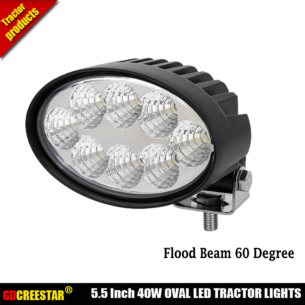 360 degree Adjustable Brackets Mounting 12V 24V 40W Oval led tractor lights used for agriculture boat IP68 waterproof light x1pc pastoralism and agriculture pennar basin india