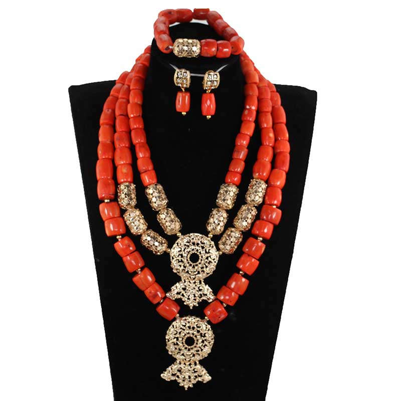 Fabulous Chunky Bib Coral Bold Gold Statement Necklace Set African Wedding Coral Beads Indian Bridal Jewelry Set Women CNR871Fabulous Chunky Bib Coral Bold Gold Statement Necklace Set African Wedding Coral Beads Indian Bridal Jewelry Set Women CNR871