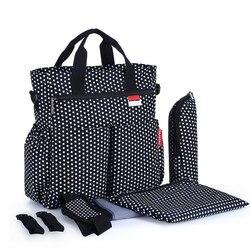 Mother Mommy Maternity Bag Baby Nappy Bag Set Baby Diaper Bag Suits including Bottle Holder Changing Mat Handbag Stroller Hooks