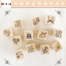 12 pcs/set Mini Cute Flowers&Pattern DIY wooden rubber stamp set Crafts Handmade decal scrapbooking Photo Album(China)