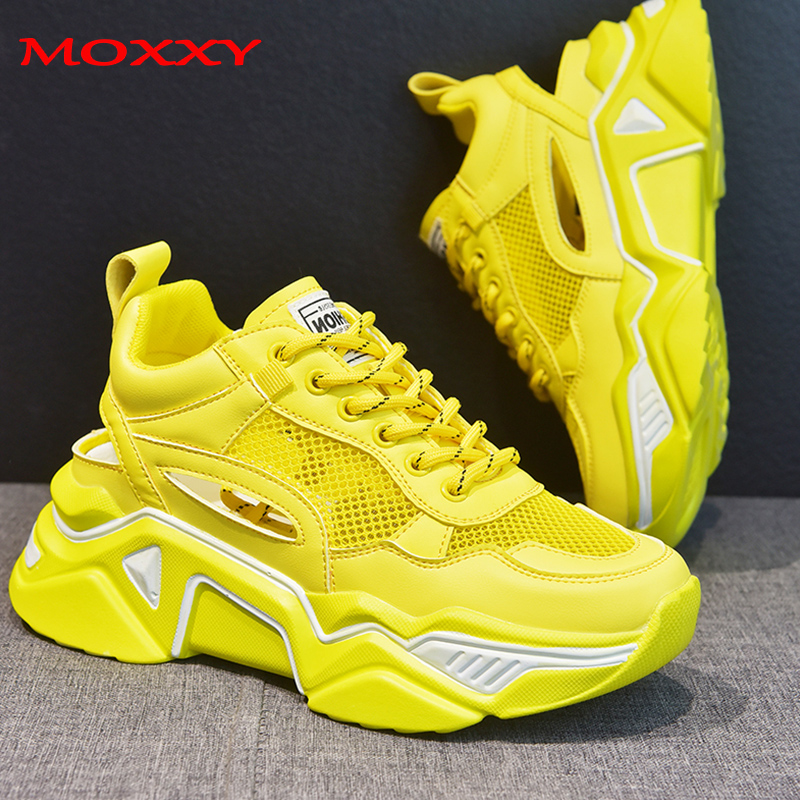 US $33.8 |2019 New Fashion Chunky Sneakers Women Shoes High Heel Platform Sneakers Casual Green White Yellow Sneakers chaussures femme in Women's