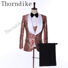 Thorndike Dernières Créations Blanc Châle Revers Marié Smokings Rouge et Or Hommes  Costumes Hommes De Mariage 3f7718f221f