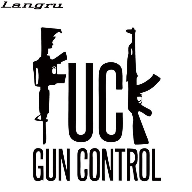 Langru car sticker gun control car styling vinyl decal car truck sticker bumper funny guns rights