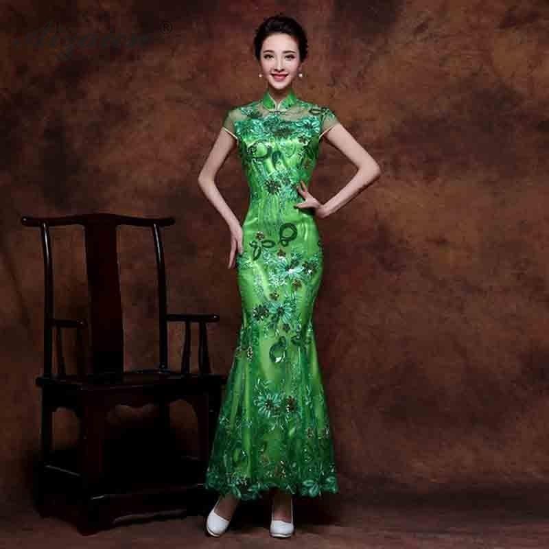 2019 Fashion Green Sequins Lace Cheongsam Long Dresses Chinoise Mermaid Evening Gown Qi Pao Women Chinese Dress Qipao Orientale