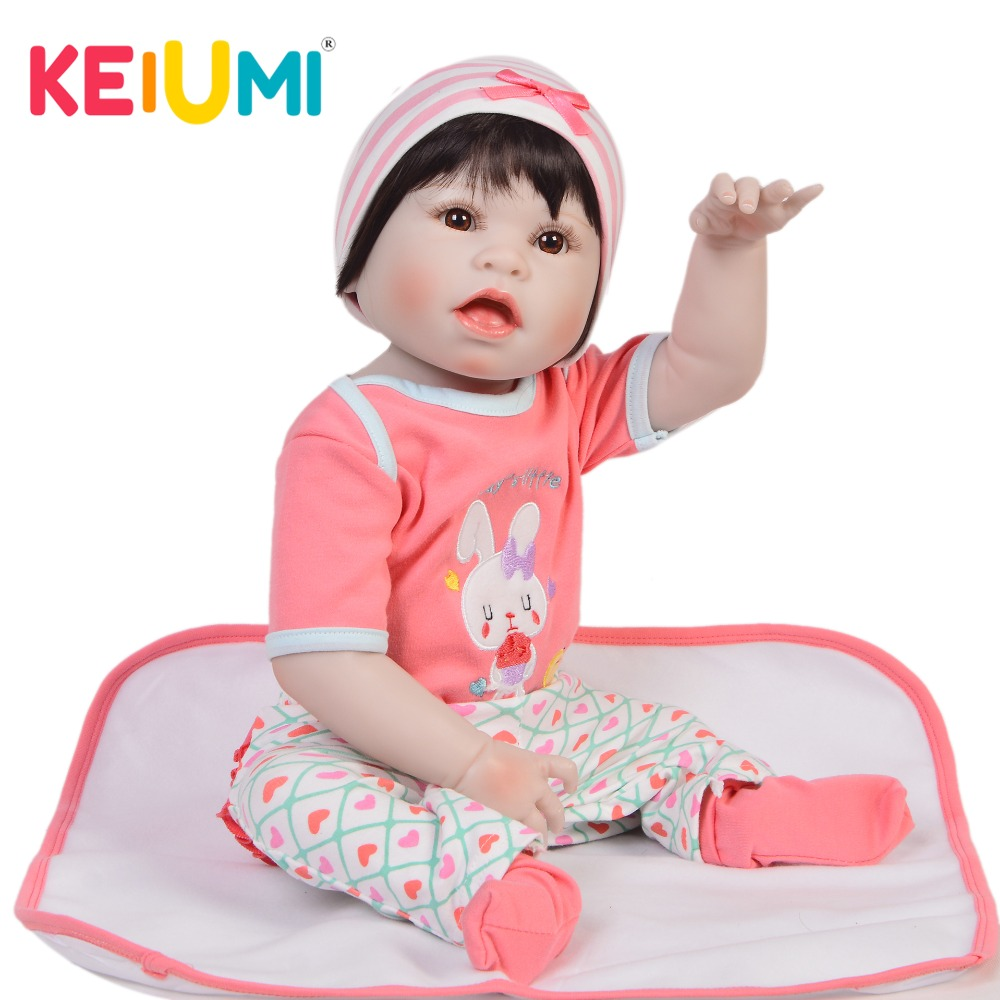 KEIUMI Stylish 23 57 cm Full Silicone Vinyl Reborn Baby Girl Doll Lifelike Surprise Face Doll
