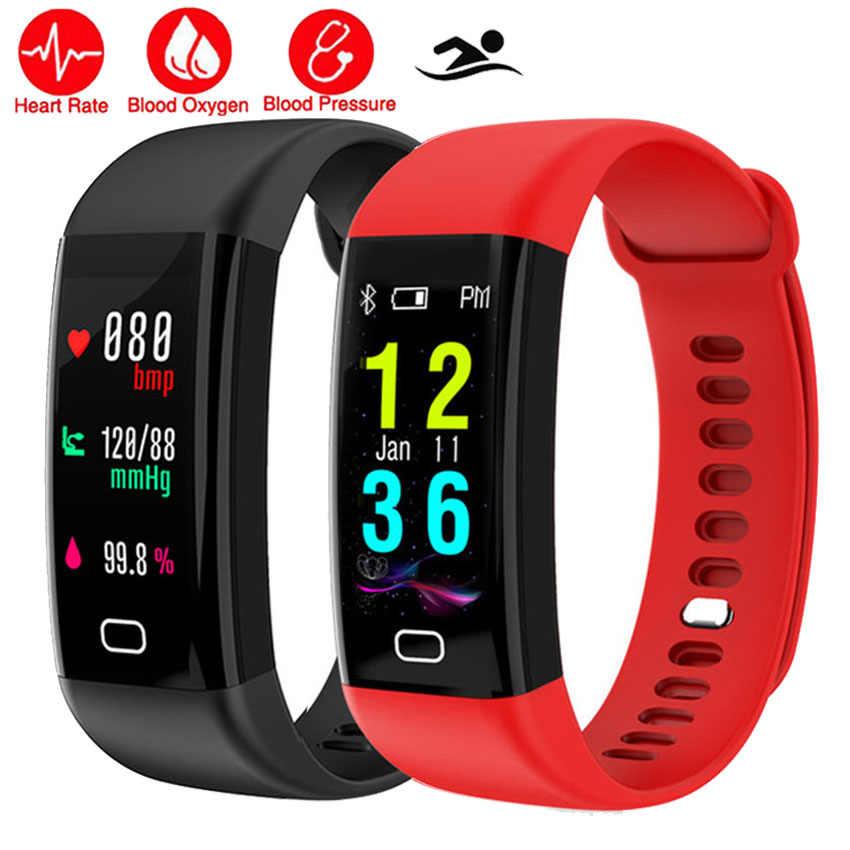 Прохладный Цвет Плавание Смарт часы браслет HR/BP/O2 здоровья Montre подключения Smartwatch подходит для IOS/Сяо mi/sony/huawei VS mi Группа 3/Q8