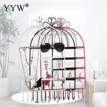Metal Bird Cage Jewelry Display Stand Earrings Pendant Necklace Storage Organizer Holder Women Accessories