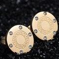 Nova Moda Famosa Marca de Jóias Em Aço Inoxidável 316L Grego Chave CZ Brincos de Pedra Do Parafuso Prisioneiro Para O Presente