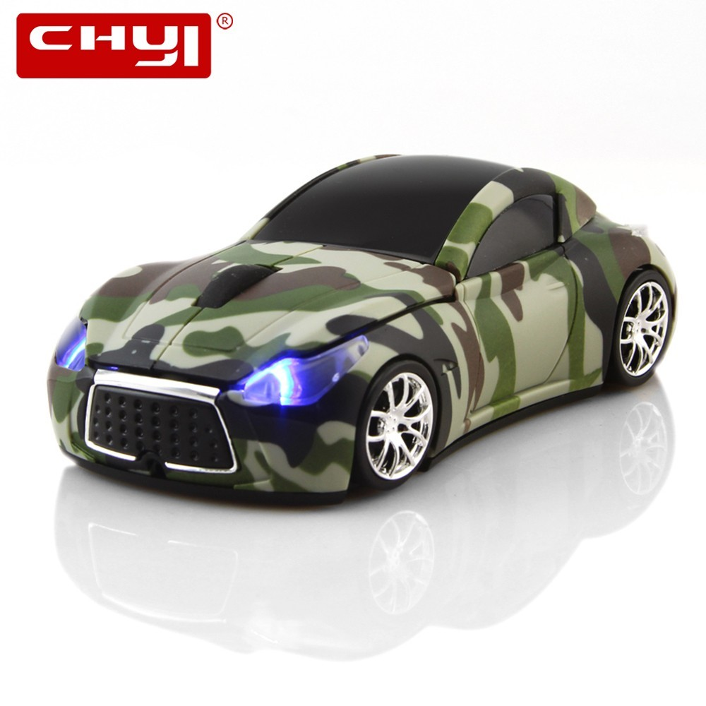 3D Wireless Mouse <font><b>Car</b></font> Mouse Wireless Camouflage 2.4Ghz Optical Gaming Mice with LED light USB Receiver for Laptop PC Notebook image
