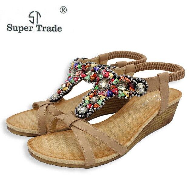 3ccb38d5b6d27c Summer New Women Shoes Sandals Roman Flat Sandals Summer Vintage Rhinestone  Woman Flip Flops Beach Women Shoes Comfortable 74-B2