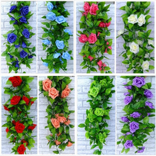 250cm Fake Silk Roses Ivy Vine Artificial Flowers with Green Leaves For Home Wedding Easter Decoration Hanging Garland Decor.B