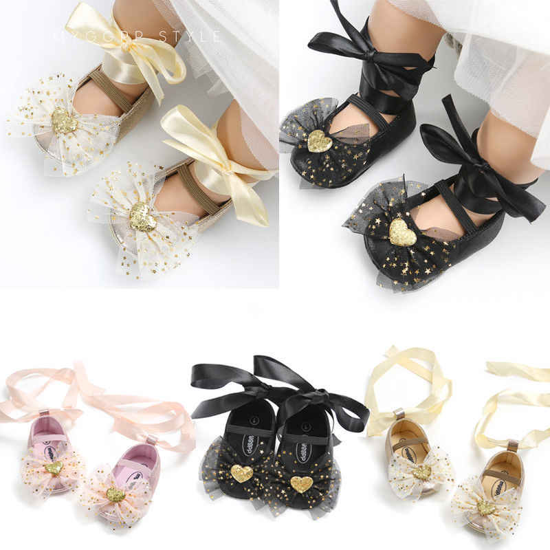 Princess Lovely Toddler Baby Girls Boys Shoes Crib Shoes 4 Style Sequined Bow Floral Slip On Lace Belt Baby Shoes 0-18M