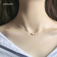 2017 New High Quality Genuine Lovely Small Pendant Short Necklace 925 Sterling Silver Box Square Shape
