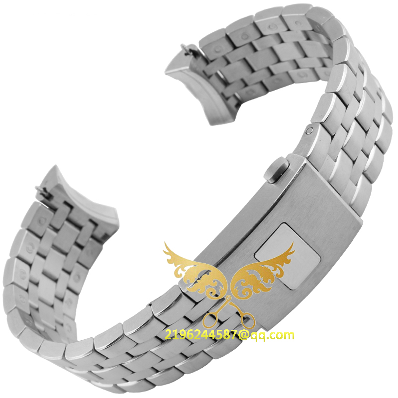 New 20mm 21mm Silver Watch Strap Bracelet Stainless Steel Band With Push Button for fit I
