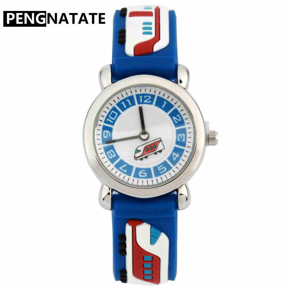 PENGNATATE Children 3D Cartoon Watch Fashion Blue Train Waterproof Strap Kids Silicone Watches Students Boys Bracelet Wristwatch