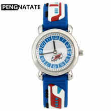 PENGNATATE Children 3D Cartoon Watch Fashion Blue Train Wate