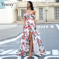 Yesexy 2019 Sexy V Neck Flower Print Dress Off Shoulder Backless Short Sleeve Elegant two split Dress VR18423