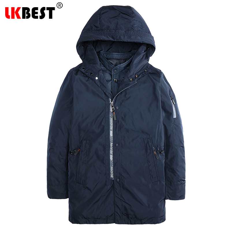 LKBEST Long Winter Coat Men Hooded Thick Loose Men Parka Warm Windproof Men's Winter Jacket Plus Size Outerwear Liner Down 2787 2015 new hot winter cold warm woman down jacket coat parkas outerwear hooded loose luxury long plus size 2xxl splice cloak