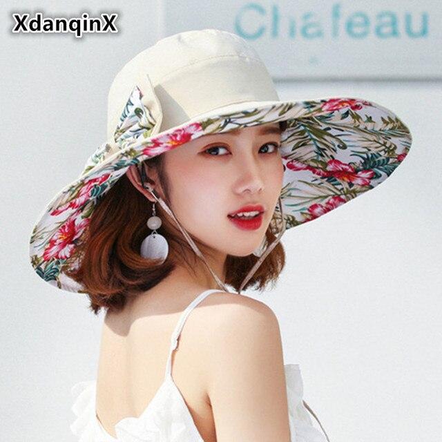 XdanqinX Adult Women s Summer Super Big Brim Sun Hat Foldable Wind Rope  Fixed UV Resistant Fashion Print Beach Hats For Women 6b7a8e19b91