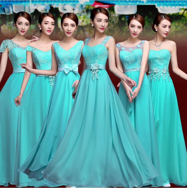 Vestido De Festa Turquoise Bridesmaid Dress Chiffon Two Tone Blue Dresses Prom Gown Vestidos Novia In From