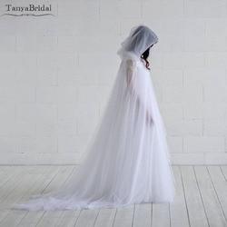 Twee Lagen Tulle Wedding Cape Elegant Fairy Bridal Mantel met Kap bolero vrouwen Sjaal 2 m Lengte DJ018
