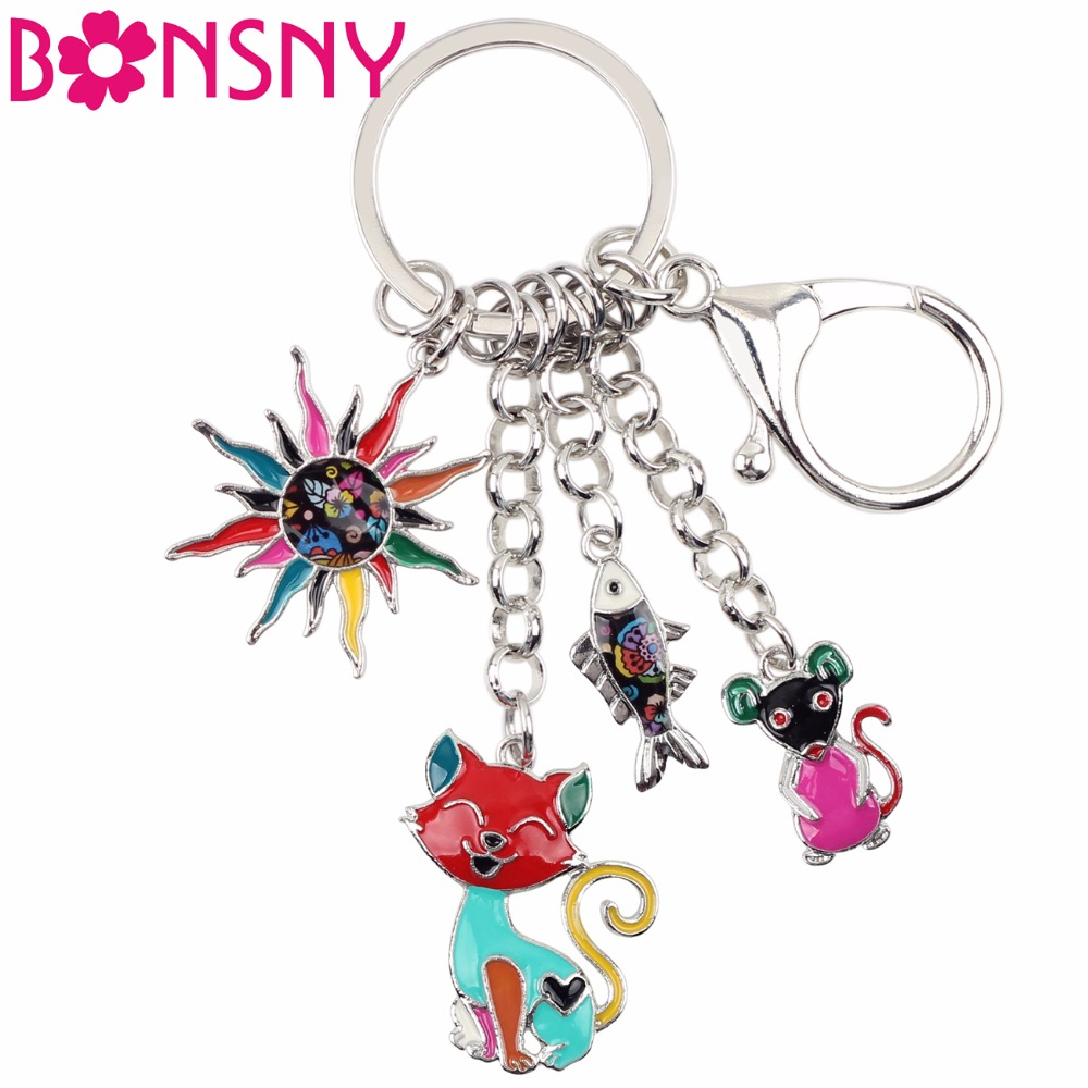 Bonsny Enamel Alloy Child's Fairy Tale Floral Sun Cats Fish Mouse Car Key Chains For Women Handbag Charms Keyring Keychains