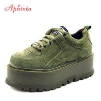 Aphixta/Зимние ботильоны на платформе со шнуровкой, женские ботинки высокого качества, женская обувь, увеличивающая рост, модные ботинки из кор...