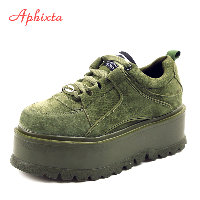 Aphixta Plate-Forme Lace-up Cheville D'hiver Chaussures Femmes Bottes de Haute Qualité Hauteur Croissante Dames Chaussures Vache En Daim Bas De Mode boot