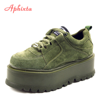 Aphixta Platform Lace up Ankle Winter Shoes Women Boots High Quality Height Increasing Ladies Shoes Cow Suede Down Fashion Boot