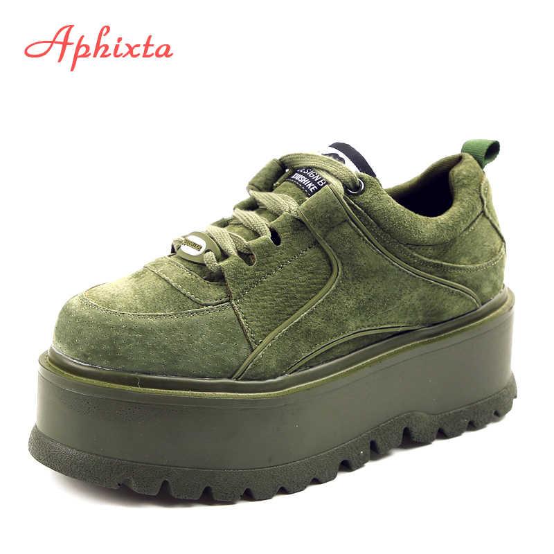 Aphixta Platform dantel-up ayak bileği kışlık ayakkabılar bayan botları yüksek kaliteli yüksekliği artan bayanlar ayakkabı inek süet aşağı moda bot