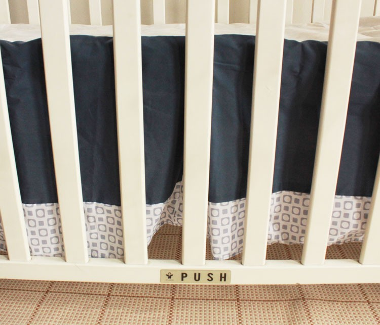 cama berço de algodão (4 pára-choques + duvet + capa + saia de cama)