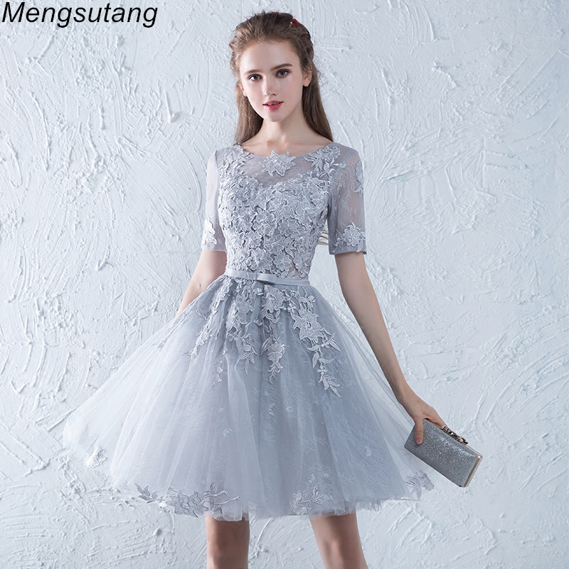 Robe De Soiree Grey O-Neck Lace Short Evening Dress Appliques Elegant Lace Vestido De Festa Banquet Party Prom Formal Dresses