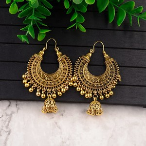 Classic Ethnic Water Drop Jhumka Earrings Women Vintage Carved Turkish Silver Color Tassel Indian Turkey Jewelry Ladies Bijoux(China)