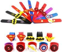 Jiangzimei 24pcs Cartoon Superman, Batman, Halloween, Mermaid, Smile Face, Flamingo Silicone Clap Rings for Kid Children boy
