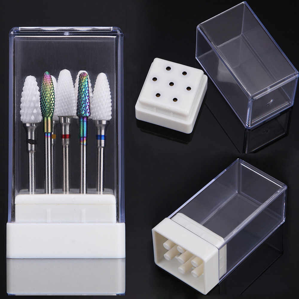 Hot Selling  7 Holes Nail Drill Bit Holder Display Standing With Cover Storage Box  White  Makeup Organizer Cosmetic bag