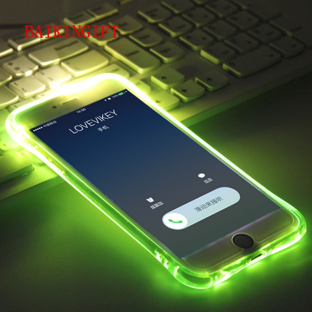 For iphone 6/6S PLUS New Soft TPU LED Flash Light Up Case Remind Incoming Call Cover Back For iPhone 6/6S PLUS Phone Shell