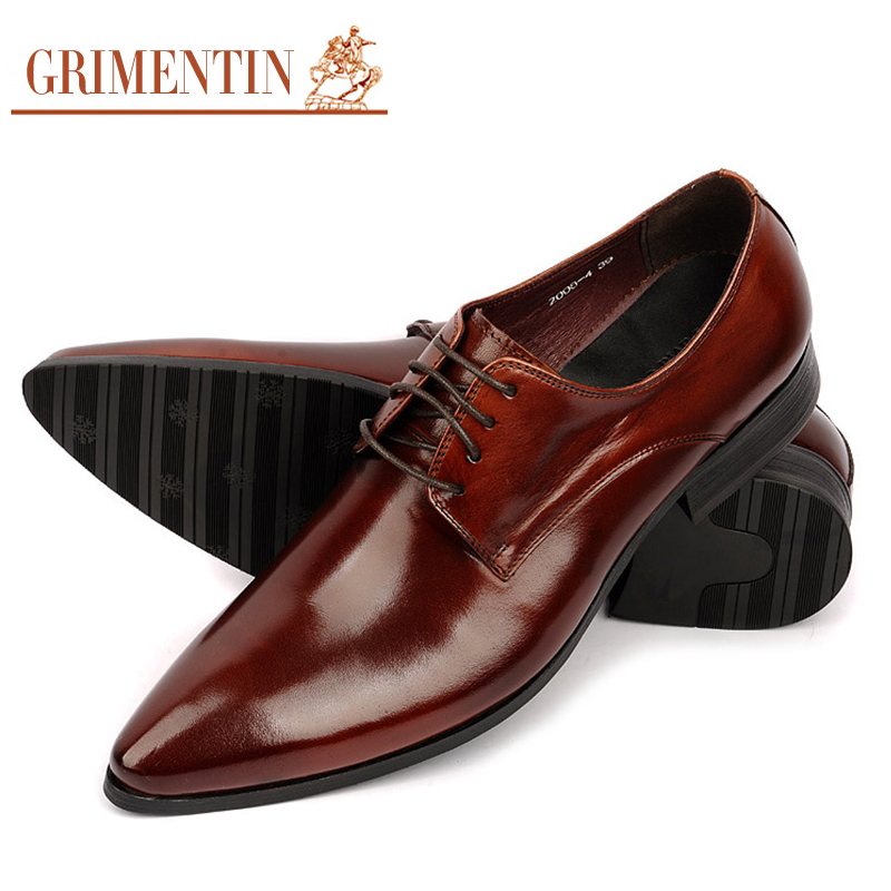 Designer Mens Pointed Toe Dress Shoes Genuine Leather Black Burgundy Brand Formal Oxford Shoes