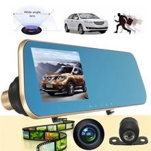 Двойная Камера Автомобильный Видеорегистратор Камера Заднего Вида Даш Cam Video Recorder G-Sensor HD 1080 P 4.3 Дюймов 170 степень