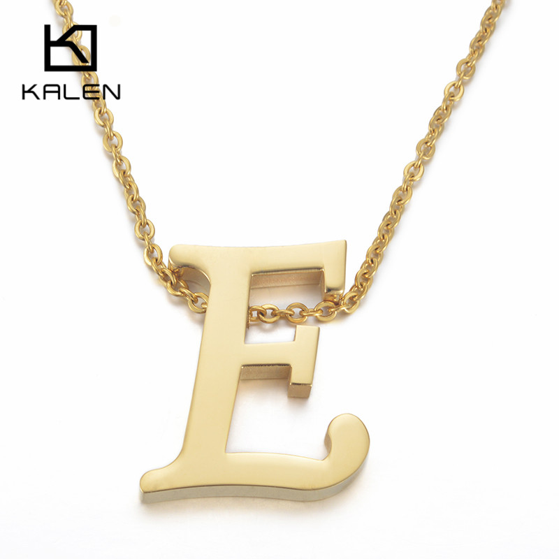 kalen cheap capital letter e pendant necklaces for men women stainless steel gold color thick