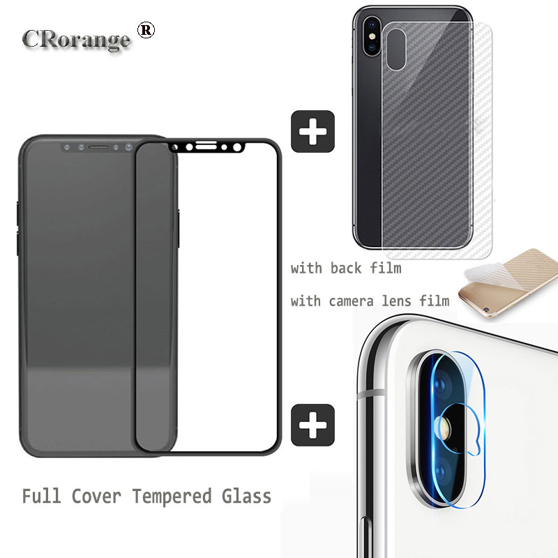 9H Full Cover For iPhone X Tempered Glass camera lens Screen Protector For iPhone X Protective Back Film For iPhone X