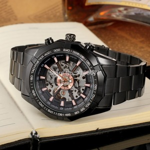 Image 5 - Reloj de pulsera de acero inoxidable automático de gran oferta de moda para hombre, reloj de pulsera Casual Color negro fsd8042m4b1