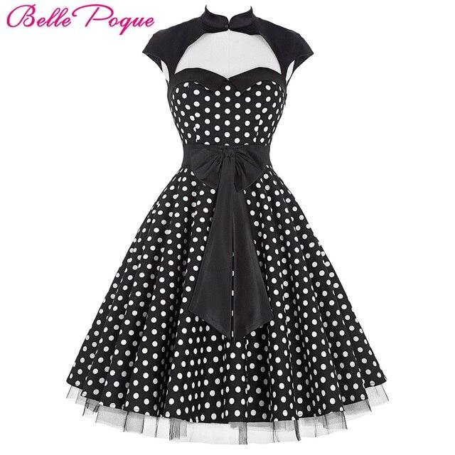 d45f85b88b3ac5 Belle Poque Sommer 50 s Polka Dot Retro Vintage Pinup Kleid Große Schaukel Frauen  Kleidung schwarz