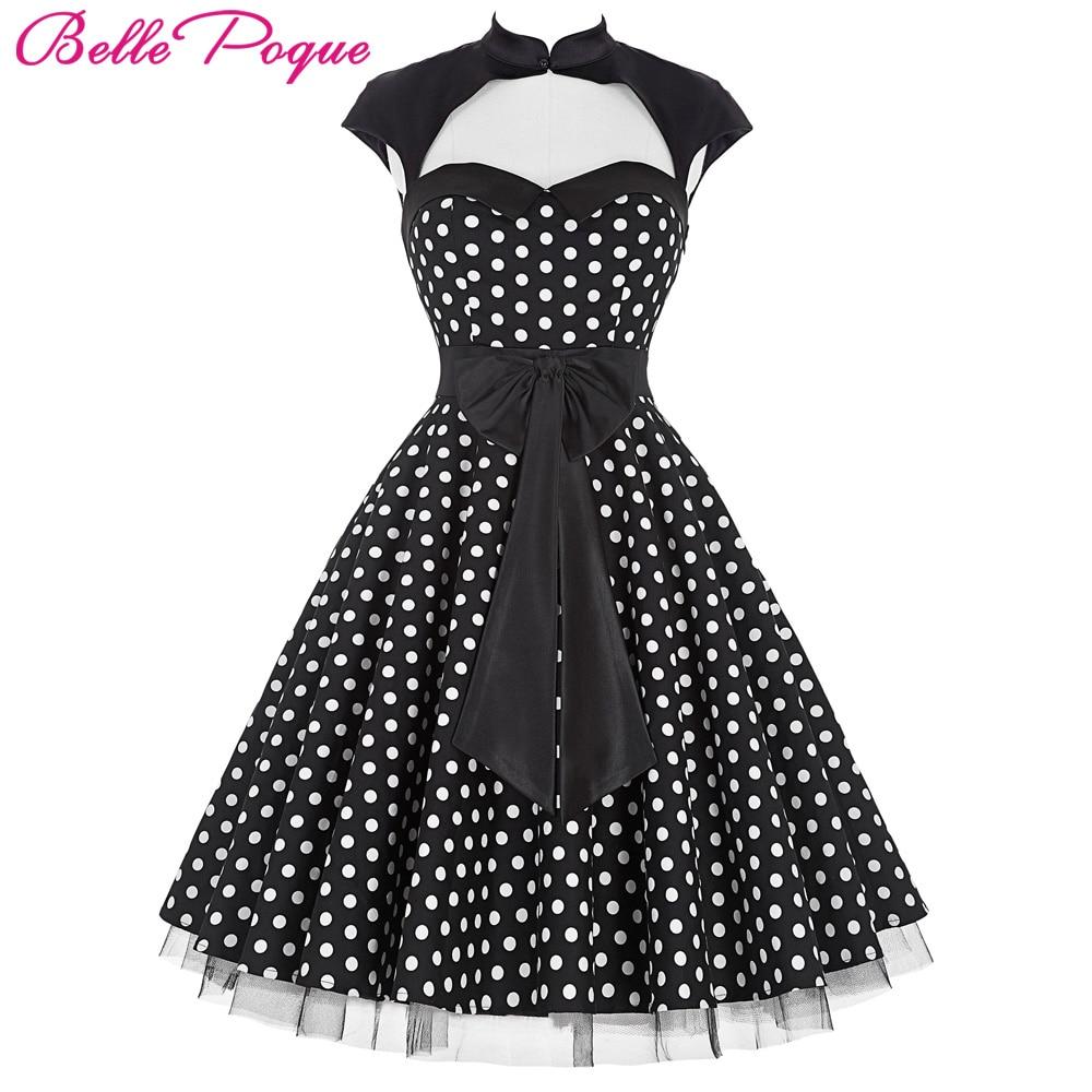 belle poque summer 50s polka dot retro vintage pinup dress big swing womens clothing schwarz. Black Bedroom Furniture Sets. Home Design Ideas